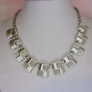Vintage Modernist Textured Squares Choker Necklace